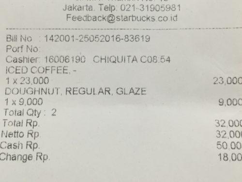 ジャカルタのスターバックスの値段